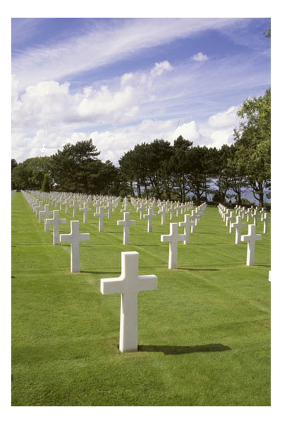 "France—Normandy—American cemetery ""Omaha Beach."" Latin crosses marking over 9,000 graves."