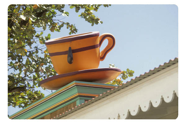 Coffee cup atop building Phillipsburg, St. Maarten