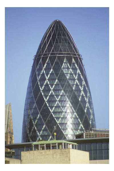 """The Gherkin""—30 St. Mary Axe, environmentally-friendly office building in financial district"