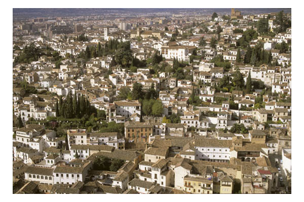 Grenada, Spain—Arial view of Grenada from the Alhambra