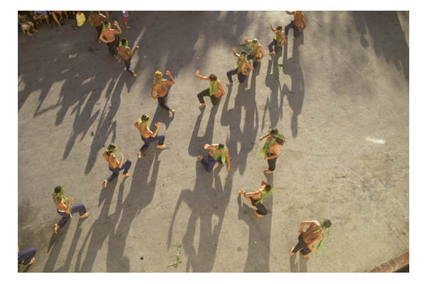 Huahine(in Society Island, French Polynesia, S. Pacific)—overhead view of Huahine males performing traditional welcoming dance