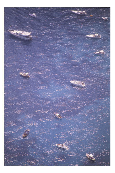Arial view of small boats in blue Mediterranean Sea, Capri, Italy