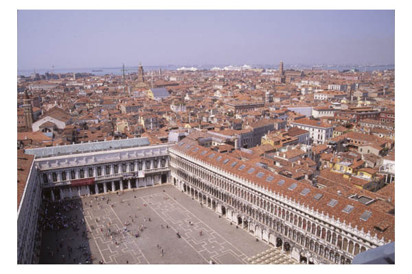 Arial view of orange tile roofs, looking over Piazza San Marco, Venice, Italy