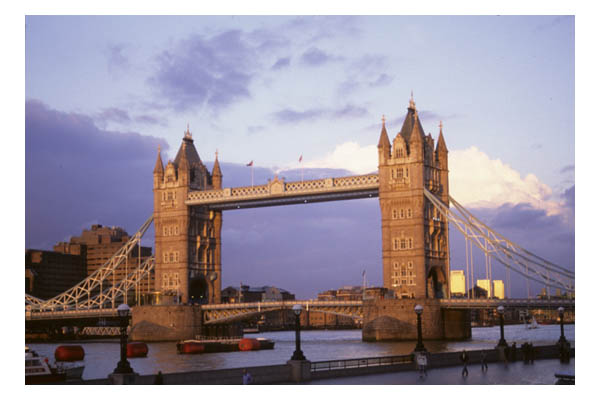 England—London—Tower Bridge and Pool of London, River Thames at dusk