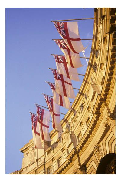 UK—London—Royal England flags at Admiralty Arch